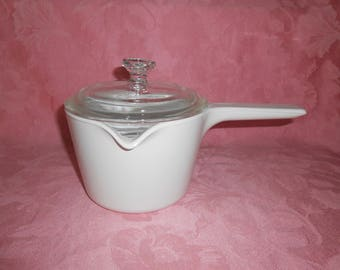"""Corning """"All White"""" Covered Sauce Pot"""