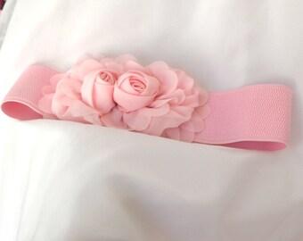 Pink Chiffon Flower cinch belt Wide elastic stretch corset belt
