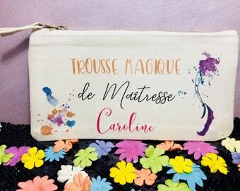 Trousse Cadeau maitresse - Trousse magique de Maitresse + Prénom, Cadeau fin d'année maitresse, cadeau maitresse, trousse personnalisée