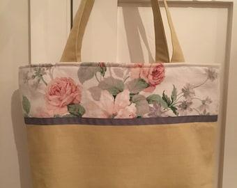 Floral fabric tote bag, vintage fabric bag, linen bag, tote, handbag, shoulder bag, gift for her, birthday gift, weekend bag, unique bag,