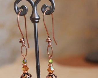 Amber and green crystal earrings