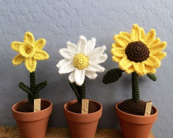 Crochet Flower, crochet sunflower, crochet daffodil, crochet daisy, made to order