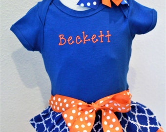 Florida, Florida Gators, Orange, Blue, Personalized, handmade, custom, bodysuit, baby girl clothing, baby shower gift, new baby gift, Gators