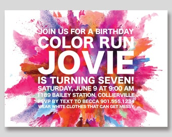 Color Run Birthday Invitation - Custom DIY Printable