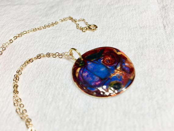 SJC10104 - Handmade necklace with abstract design round copper enamel painted (blue/red/yellow/orange) pendant with gold chain.