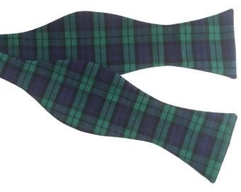 Men's Bow Tie, Bow Tie for Men, Green and Purple/Blue Tartan Bow Tie, Self-Tie Bow Tie
