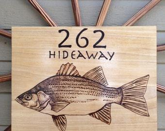 HORIZONTAL BASS FISH Address Plaque - On Distressed Poplar Wood