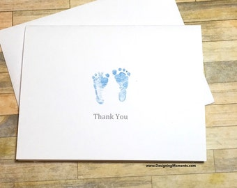 Baby Shower Thank You Note Card Set, Blue Baby Footprints, Blue Footprints, Baby Footprints Thank You Cards, Baby Shower Cards