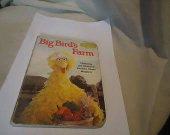 Vintage 1981 Big Bird's Farm Book By Sesame Street, collectable