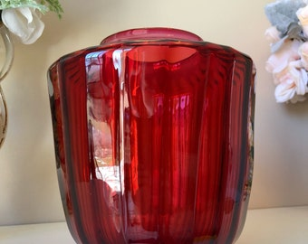 Vintage cranberry glass lamp shade