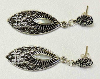Ornate Drop Dangle Vintage Earrings With Mother Of Pearl Inlay