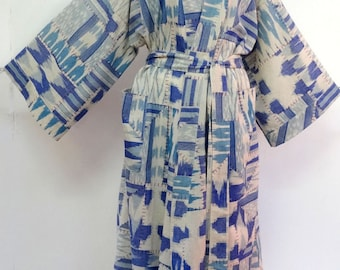 Kimono dressing gown blue and white woven cotton ikat and patchwork