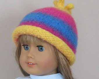 American Girl felted wool hat with rolled brim: yellow, pink and blue variegated yarn, 18 inch doll