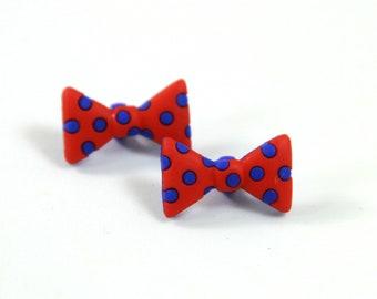 Bow earrings, Polka dot earrings, Blue polka, Blue red polka dot earrings, Bow tie studs