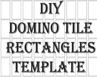 "Blank Domino Tile Template Printable 4 File DIY 1 X 2"" Rectangle Create Party Favors Craft Clip Art  for Neckace Pendant Altered Art Collage"