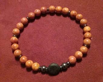 Red Jasper & Hematite Diffuser Stretch Bracelet  Mens Womens  Made to Order