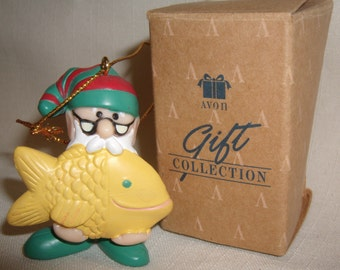 AVON Cute FISHING Christmas ORNAMENT Elves Day Off Fishing In Box