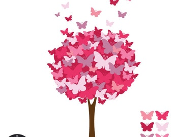 Digital Clip Art - The Butterfly Tree - Pomegranate Pink