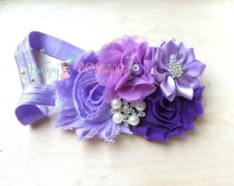 Lilac Purple Plum headband, newborn headband, Baby girls headband , Birthday headband, Photo Props, Ivory headband, Lavender headband