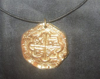 ONE Necklace Large 40MM Gold Tone  Pieces Of  Eight Pirate COIN Pendant