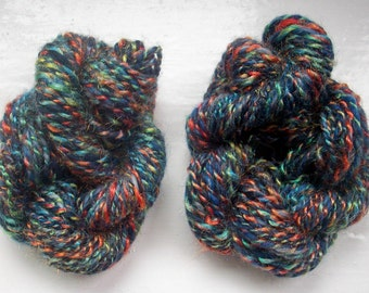 Handspun merino yarn -  dark blue, multi rainbow by SpinningStreak