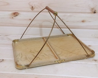 Vintage Made in Japan K Wood Folding tray with Handle