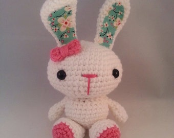 Hand made crochet white and pick or blue bunny