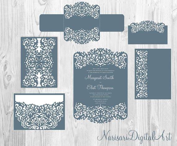 laser cut wedding invitation templates  gate fold card