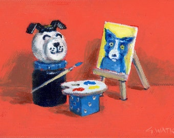 Lucky, Fisher Price dog, Paints a Portrait- matted print of an original painting by Greta Watkins