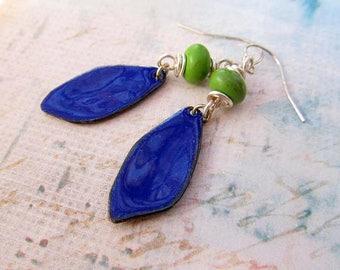 Boho earrings blue green Enamel earrings Bohemian jewelry gift for her