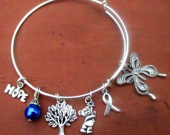 Blue Awareness Butterfly Bangle Charm Bracelet Colon Cancer Child Abuse Drowning Awareness Foster Care Awareness