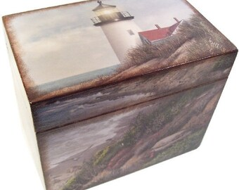 Recipe Box, Personalized, Couples Gift, Men's Recipe Box, Gift for Him, Decorative Lighthouse Box, Holds 4x6 Cards, MADE TO ORDER