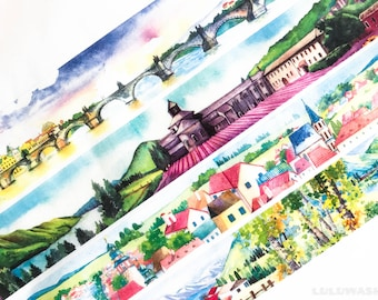 Sample - washi tape samples landscape bridge / city square / countryside town / seaside village 60cm <LS110>
