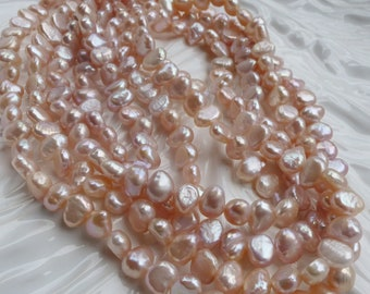 All Pure Nacre Pink Nugget Pearls Cultured Freshwater Natural Color Organic Casual 16 inch Full Strand Lustrous Ballet Pink Beaders Secret