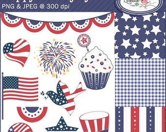 50%OFF Happy 4th of July cliparts and digital papers set, DIY Independence Day, 4th of July Diy printables, C138