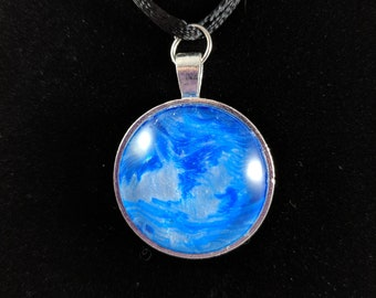 Silver Circle Pendant - Blue and Silver