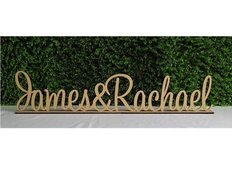 Personalised custom names & freestanding wooden letters sign with base