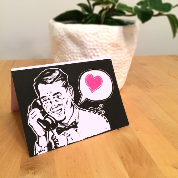 Retro linocut greeting cards phone call with heart hand like this item m4hsunfo