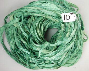 Silk Sari Ribbon, Sari silk ribbon, recycled ribbon, green sari ribbon, silk ribbon, rug supply, knitting supply,  Hand dyed sari ribbon