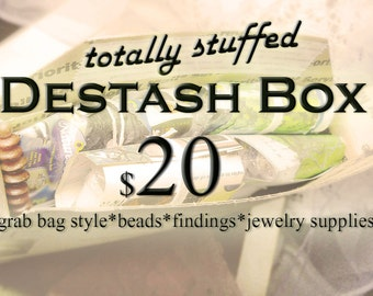 Destash Supply Lot - Grab Bag Style - Beads, Findings, Jewelry Supplies - Assorted Materials - Mixed Vintage & New - Stuffed Flat Rate Box