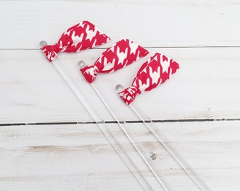 Red flocked houndstooth Ribbon Cocktail Stirrers - 25 count - University of Alabama