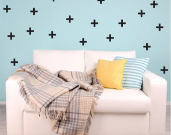 Swiss Cross Pattern Wall Decals - Plus Sign Wall Decal -Cross Pattern Wall Decor - Set of 48