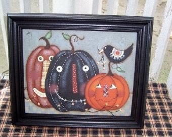 Primitive Fall Pumpkin-Crow Handpainted Canvas-Framed