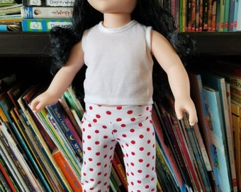 "Doll Leggings, 18"" Doll Clothes, White with Red Dots Doll Pants, Girls Minnie Doll Trousers"