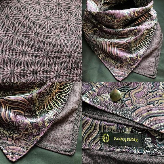 NEW DESIGN-Made To Order-Royal Purple Deluxe Bandana Scarf-Imported Metallic Satin Brocade Fabric-Hemp Leaf-Asanoha-Unisex Neckware