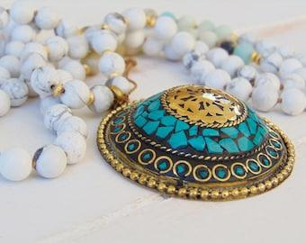 Amazonite 108 Mala,, Howlite Mala Beads, Hand Knotted Mala Necklace, Buddhist Necklace, Tibetan Necklace, Yoga Necklace, Japa mala, Yoga