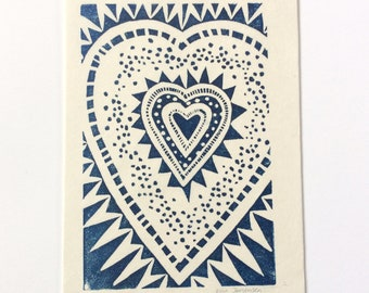 linocut - HEART // 5x7 art print // printmaking // block print // dark blue // geometric // love art // original // small, miniature // 4x6