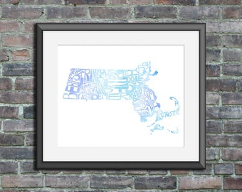 Massachusetts watercolor typography map art unframed print state poster wedding engagement graduation gift anniversary wall decor
