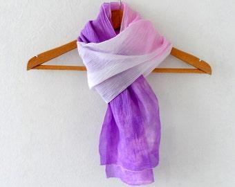 Violette Ombre Schal, Stirnband, Hand gefärbt Baumwolle jemenitischen dünn Schal, Sommermode