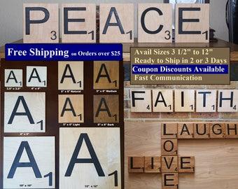 "Large Scrabble Tiles 4"" Carved Letters Maple Plywood Letter Tile Oversized"
